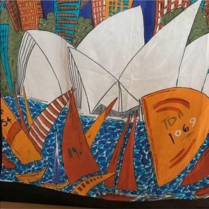 Vintage Silk Scarf Sydney Opera House sail boats
